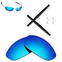 Hawkry Polarized Ice Blue Lenses & Black Kit for-Oakley Whisker Sunglass
