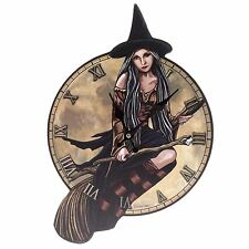 Witch on Broomstick Shaped Picture Wall Clock 45cm High Lisa Parker