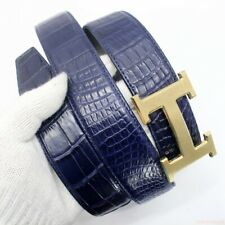 """WITHOUT JOINTED Men's Belt Navy Genuine Crocodile Alligator Skin Leather W1.5"""""""