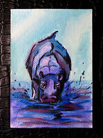 "Original art by Bastet ""Marsh Hippopotamus"" OOAK hand painted ACEO"