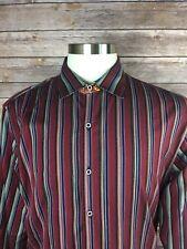 Robert Graham Men M? Red Contemporary Fit Striped Funky Designed Flip Cuff Shirt