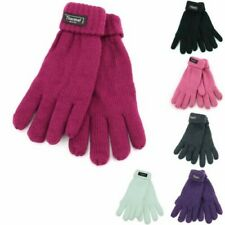 Thermal Gloves Insulated Lined Winter Warm 40gm Purple Black White Pink