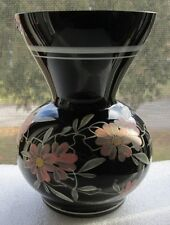 Retro BLACK AMETHYST GLASS FLOWER BOUQUET Waisted VASE WHITE & PINK ENAMEL CZECH