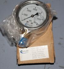 "CHEM OIL 2.5"" Oil Filled Pressure Gauge 0-6000 psi FREE SHIPPING 210L-254S"