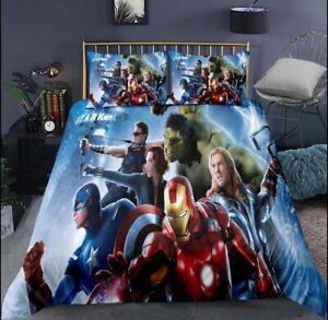 Marvel Avengers Bedding Set Duvet Cover, Pillow Double / Single Bed -UK STOCKIST