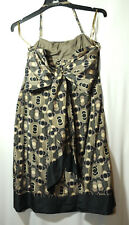 BROWN BLACK SPOTTED LADIES FORMAL PARTY COCKTAIL DRESS TED BAKER SIZE 12 SILK