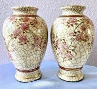 """Japanese Taisho Period Satsuma 2 PC Vases  Kyokuzan Mark Cherry Blossoms 4.5 """""""