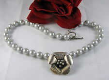 Gorgeous Blue Faux Pearl Silver tone Flower Necklace FERAL CAT RESCUE