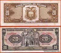 EQUATEUR billet neuf de 20 SUCRES Pick121a EGLISE DE JESUS A QUITO 1986 ECUADOR