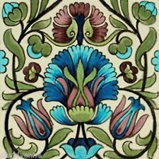 Funky Blue and Green Flower pattern 12 x 12 inch mono deluxe Needlepoint Canvas