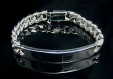 "Men's/Women's Silver Plated Curb Link ID Chain Bracelet 10mm 8"" ,Wholesale"