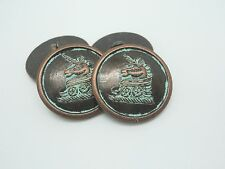 3 UNICORNO ITALIANO Metal shanked pulsanti 23 mm-Verde Antico Bronzo-Giacca / Cappotto