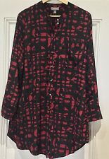 SUSSAN  shirt 14 longline red black great condition