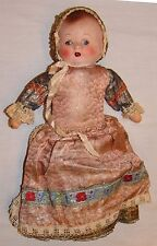 "Antique Doll France Baby 15"" Composition W/ Clothes Beaded Hat Dress Composition"