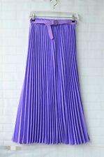 Women Pleated Retro Maxi Long Skirt Elastic Waist with Belt Chiffon Dance Dress