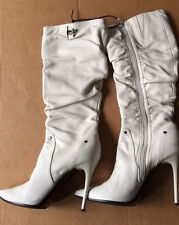 Italian white leather boots