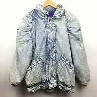 Vintage Acid Wash Puffer Denim Jean Jacket Coat Lined 80s 90s Inner View Ruched