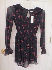 Hollister Women's Black Floral Mini Dress Long Sleeve Bohemian Size XS New
