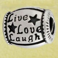 .925 STERLING SILVER BEAD EUROPEAN CHARM FOR BRACELET #A102 LIVE LAUGH LOVE NEW
