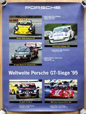 """org. Porsche Plakat Renn Poster  """"Porsche GT Siege"""" 1995 Porsche 911 GT2 und RSR"""