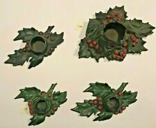 "Vintage Cast Iron ""4"" Holly Leaf Candle Stick Holders Pat'D 5-17-21 Christmas"