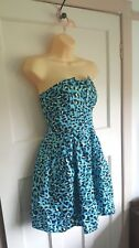 Blue Black Animal Print Be Beau Strapless Dress Size UK 10 Party Cocktail