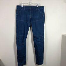 G Star Raw Jeans Men's 38 by 36 Dark Blue Skinny Straight Raw Denim EUC