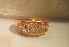 10K yellow gold filled band ring with 5 clear sapphire cur out flowers