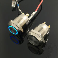 12V 12mm Waterproof LED Power Symbol Angel Eye Push Button Metal ON/Off Switch