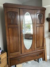 Vintage Double Wardrobe with Mirrored Door and Drawer Large Victorian Edwardian