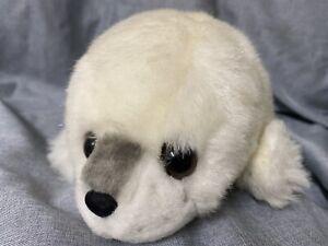 "Harp Seal Pup Plush 14"" Russ Velvet Nose Realistic White Stuffed Animal"