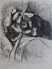 Théophile Alexandre STEINLEN (1859-1923): Lithographie originale. Dame Jacinthe.