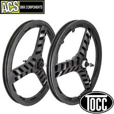 "BMX Wheel Set (pair) ACS Stellar 3 spoke 3/8"" Axle (Black) Old School Mid School"