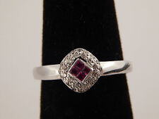 14k White Gold Illusion AAA+ Red Ruby Diamond Designer Ring .32 tcw Engagement