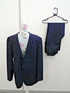 Ralph Lauren Mens Navy Blue 2 Piece Suit 100% Extra Fine Virgin Wool 100 Size 52