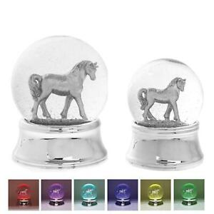 Silver Unicorn LED Glitter Glass Water Snow Globe Colour Changing Ornament