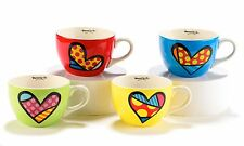 ROMERO BRITTO CAPPUCCINO MUG:  HEARTS DESIGNS SET 4 16 OZ GIFT BOXED  NEW