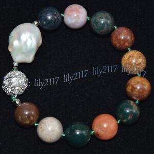 Huge 14MM Multi-Color Agate Round Gems& White Keshi Baroque Pearl Bracelet 7.5''
