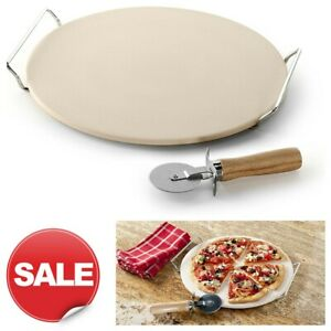 NEW Pizza Stone Set Round Baking Rack Chef Oven Natural Large