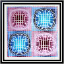 Victor Vasarely Color Silkscreen Large Original Geometric Op Artwork Signed Rare