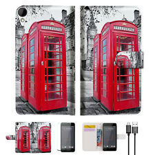 British phone Booth Wallet TPU Case Cover For HTC Desire 825 -- A025