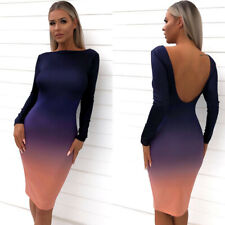 Women Sheath Backless Long Sleeve Gradation Elegant Ladies Party Midi Dress CA