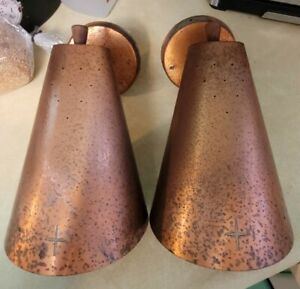 RARE Pair of Atomic Age MCM Copper Cone Stars Wall Sconces Light Fixtures