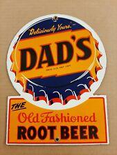 Dads Old Fashioned Root Beer Porcelain Sign Soda Pop General Store Diner Float