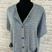 Vintage retro blue brown patterned knit button up a-line sweater dress duster 16