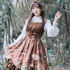 Womens Lolita Steampunk Dress Printed Princess Suspender Skirt Vintage Cosplay