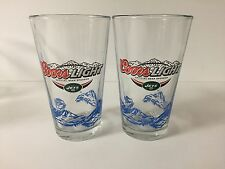 Coors Light New York Jets 16 oz Pint Glass ~ Set of Two (2) Beer Glasses ~ NEW
