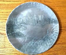Wendell August Forge Aluminum Pittsburgh City Scene Incline Dish Plate Bridges