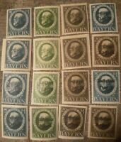German states-bavaria King Ludwig Large Stamps 16 All Different Mint Lightly...
