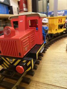 Playmobil LGB 4025 / 4050,  mit Figuren + 3 Waggons 4103, 4112, 4116  + Schienen